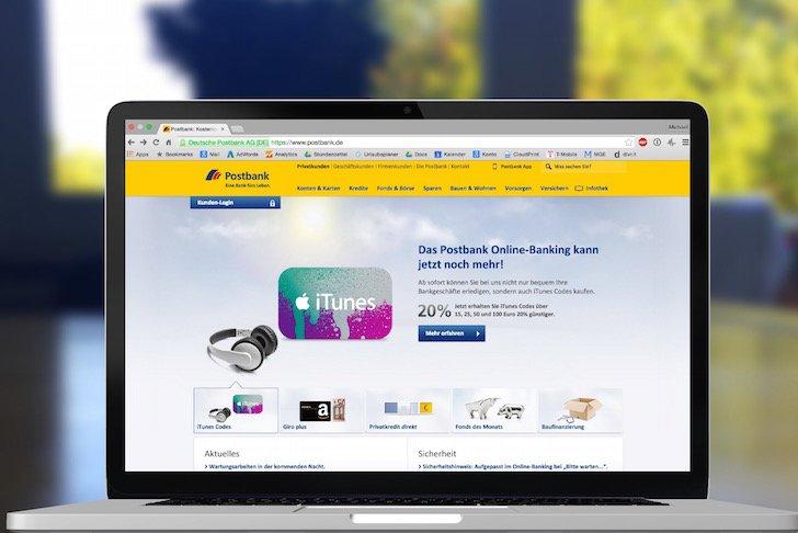 iTunes Karte Geschenkkarte Guthaben Rabatt günstiger Postank Girokonto 1