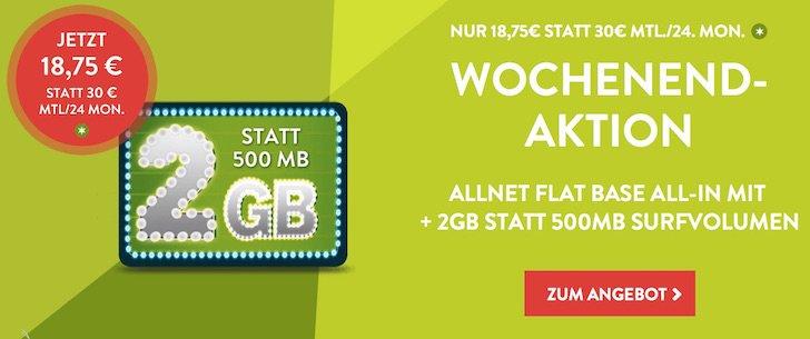 Nur bis 13.09.2015 1,5 GB Datenvolumen zusätzlich BASE All in BB