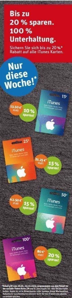 REWE iTunes Rabatt Karten Nachlass