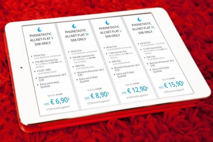 SIM-Only Sparhandy Allnet-Flats im D-Netz stark reduziert Phonetastic Allnet-Flat S M L XL SIM-Only