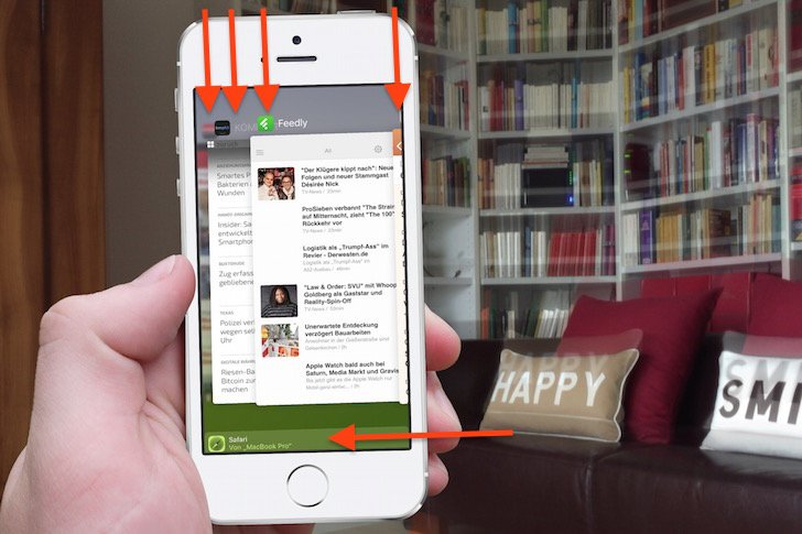 iOS 9 iPhone Task Manager In App Umschalter Hands Off geöffnete Apps 1