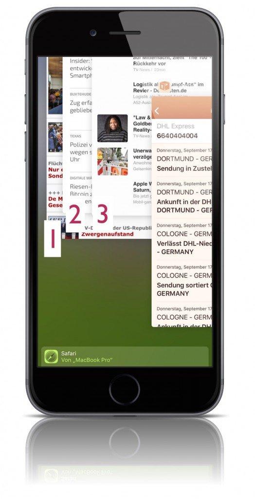 iOS 9 iPhone Task Manager In App Umschalter Hands Off geöffnete Apps 2