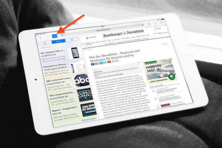 iPad Favoritenleiste ausblenden in Safari 2