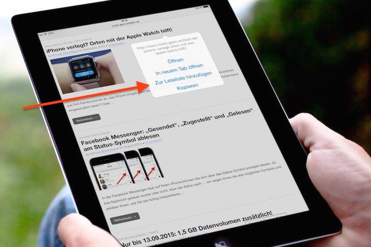 iPad Safari-Leseliste einsetzen 1
