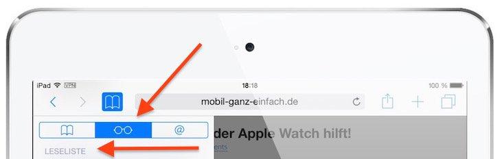 iPad Safari-Leseliste einsetzen 3