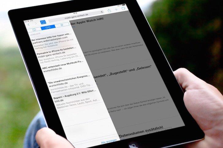 iPad Safari-Leseliste einsetzen 4