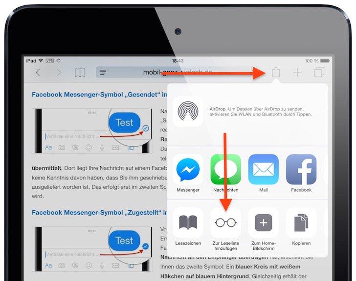 iPad Safari-Leseliste einsetzen 5