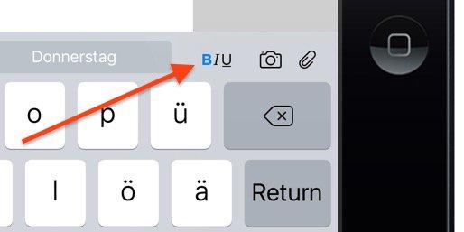 iPad iOS9 Formatieren Text einfacher Fett kursiv unterstrichen Mails Notizen iPad 1