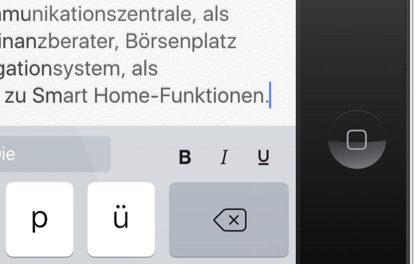 iPad iOS9 Formatieren Text einfacher Fett kursiv unterstrichen Mails Notizen iPad 4