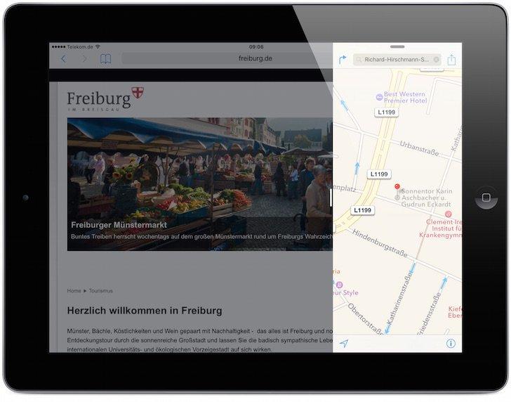 iPad iOS9 iOS 9 Split Screen Split View Geteilter Bildschirm App nebeneinander teilen Multitasking gemeinsam 4