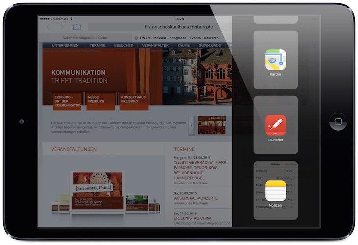 iPad,iOS9,iOS 9,Slide Over,nutzen,Bildschirm teilen,Split View,Multitasking,gleichzeitig 2