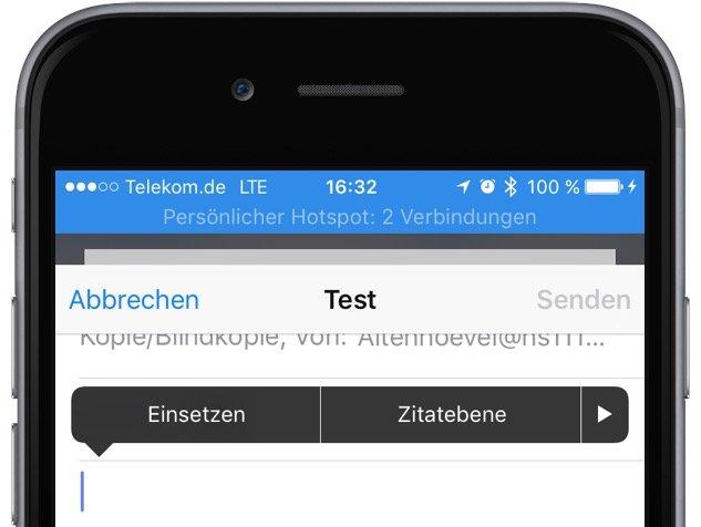 iPhone Fotos in Mail versenden Ei nsetzen Zitatebene Einfügen 1