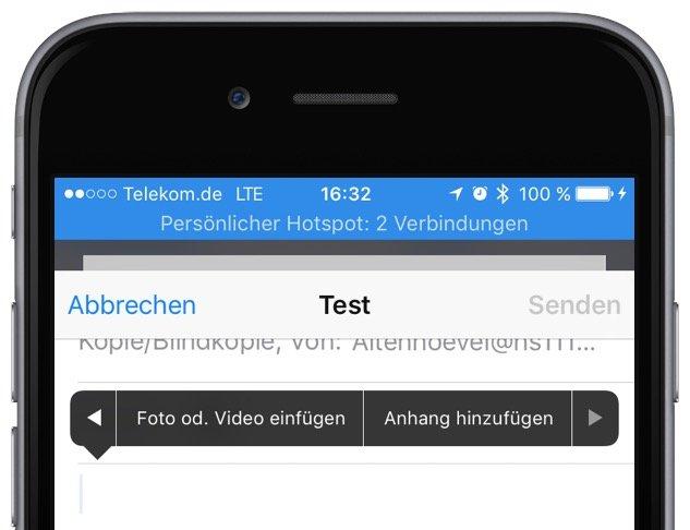 iPhone Fotos in Mail versenden Ei nsetzen Zitatebene Einfügen 3