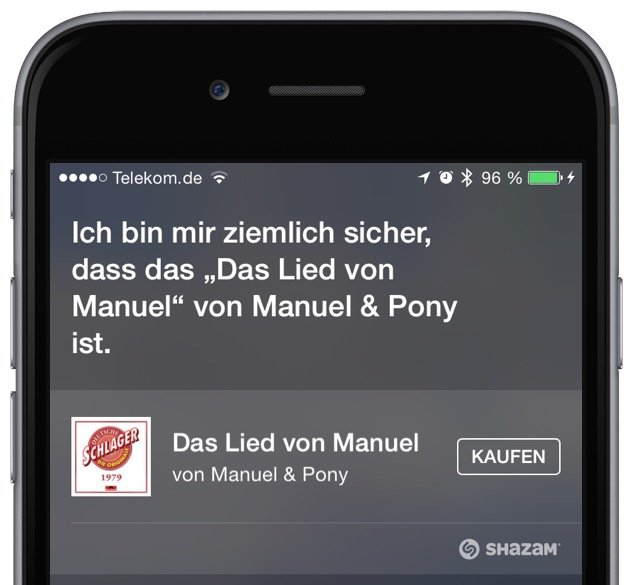 iPhone Siri Musik Titel Interpret Shazam 3