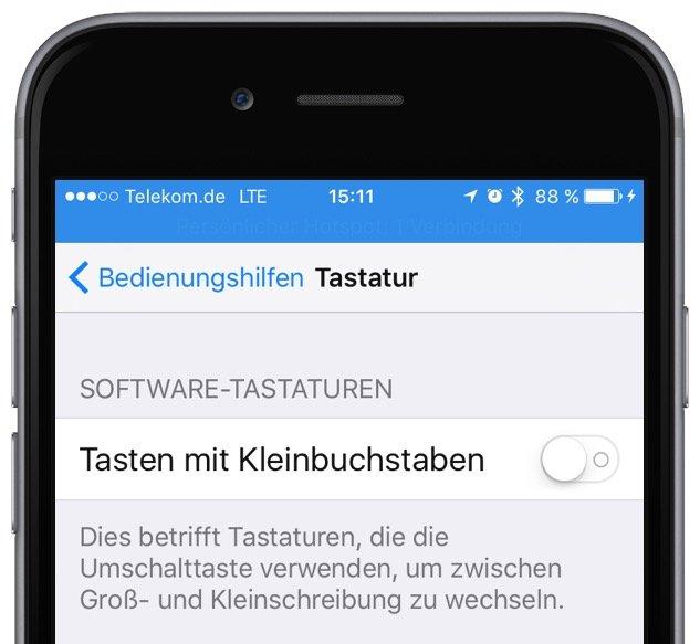 iPhone iOS 9 Apple Tastatur Kleinbuchstaben Grossbuchstaben umstellen Update Tastaturlayout 3