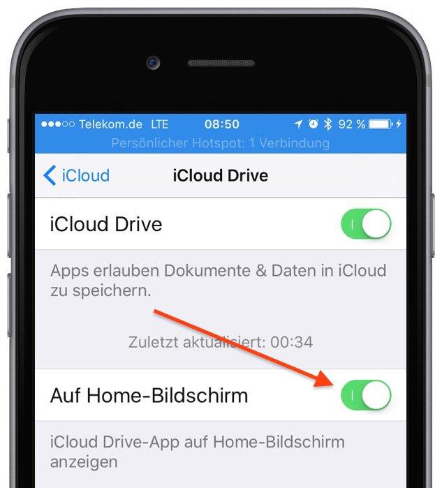 iPhone iOS 9 iCloud Homescreen Symbol App Datenwolke anlegen löschen entfernen 1