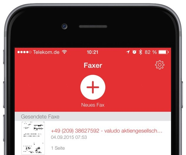 iPhone iPad Fax Telefax versenden unterwegs Faxer iOS Mac HOsy App 2