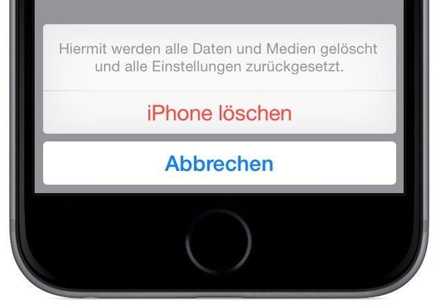 iPhone löschen Auf Werkseinstellungen zurücksetzen 3