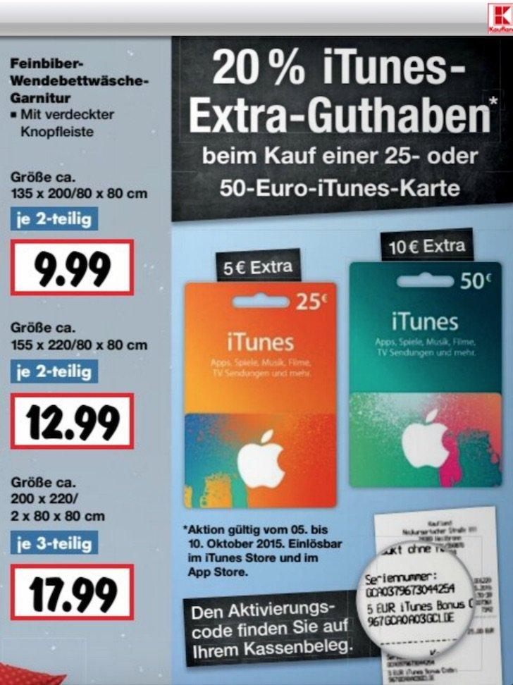 iTunes Guthaben Rabatt Extra Kaufland Geschenkkarte Aktion