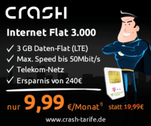 65 Prozent sparen bei LTE Datenflatrate Nur 6,99 EUR Monat für 3 GB im Telekom-Mobilfunknetz. Nur für kurze Zeit