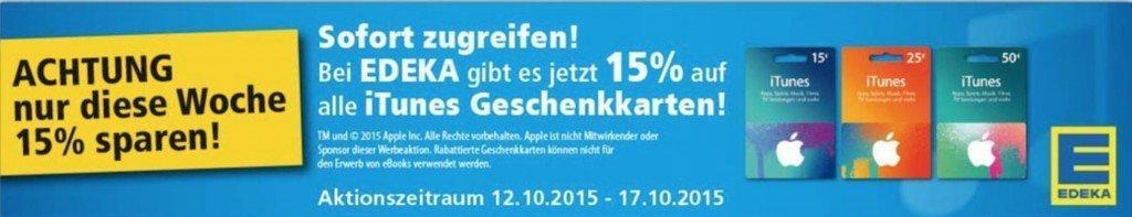 Apple EDEKA Rabatt iTunes Karten Geschenkkarten 15 Prozent Filialen App Store Book