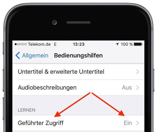 Apple iPhone Kind Kinder Zugriff sperren freigeben einschränken eine einzelne App geführter Zugriff 3