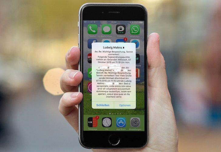 Apple iPhone iOS Mitteilung Nachricht Hinweis E-Mail besonders wichtig 1