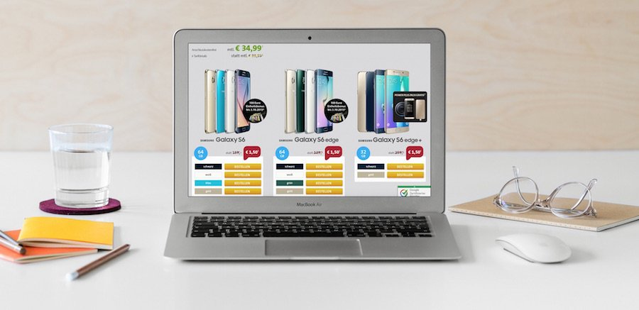 Samsung Galaxy S6, S6 edge S6 edge+ 1,50 EUR Zuzahlung Sparhandy Vodafone Tarif Smart L GB Datenflatrate 1