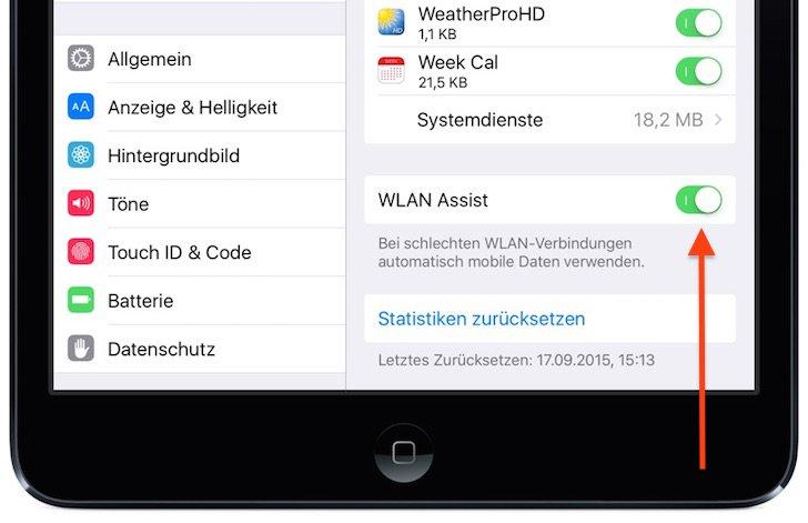 WLAN Assist Funktion iPad iOS 9 mobiles Datenvolumen ungewollt aufbrauchen abschalten 1