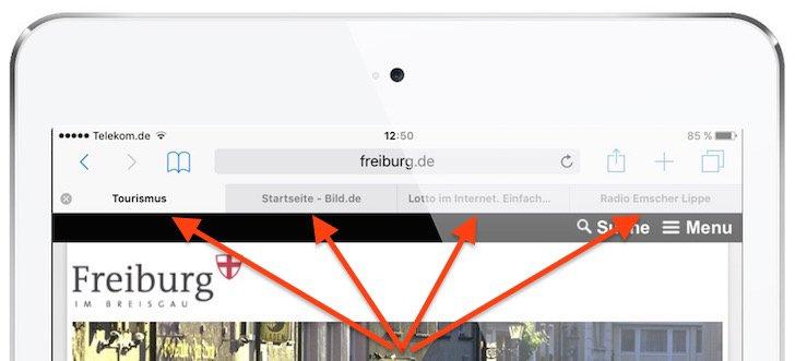 iPad HandOff Tab Neue Registerkarte Öffnen Plus-Zeichen Safari Apple beenden schließen speichern 2