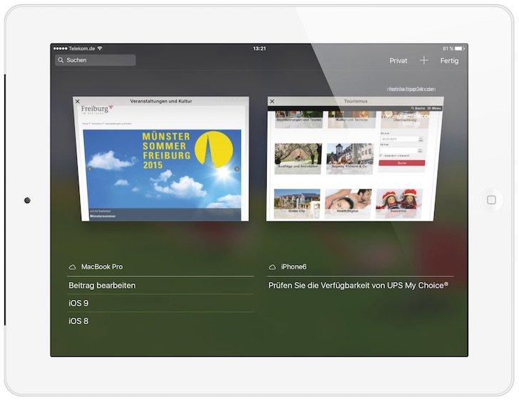 iPad HandOff Tab Neue Registerkarte Öffnen Plus-Zeichen Safari Apple beenden schließen speichern 4