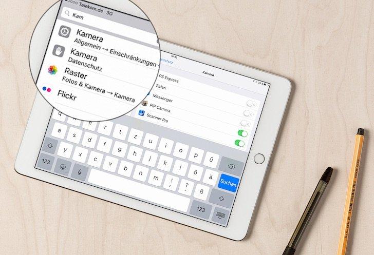 iPad iOS 9 Einstellungen durchsuchen Bluetooth Kamera suchen 1