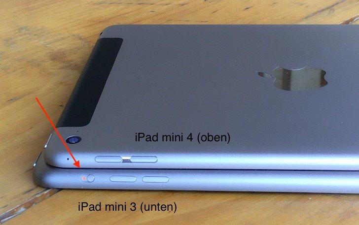 """iPad mini 3 und iPad mini 34 im Verglich: Ein Seitenschalter """"fehlt""""."""