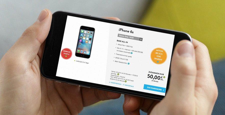 iPhone 6s inkl. BASE all-in mit doppeltem Datenvolumen