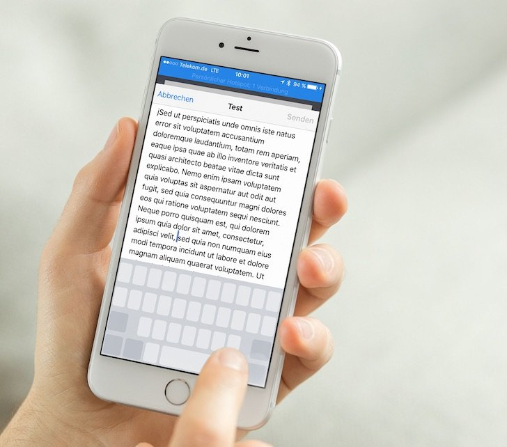 iPhone 6s plus Apple 3D Touch Force Touch Technologie Funktion Drücken Druck Text korrigieren ändern verbessern 1