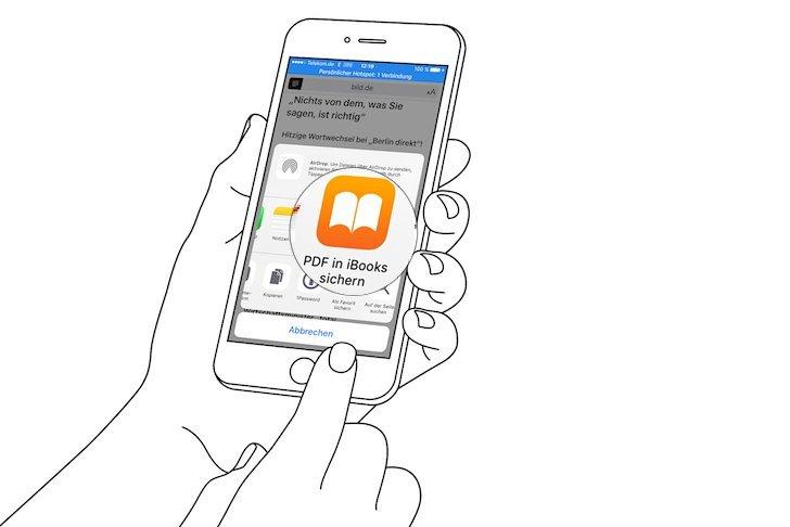 iPhone Reader-Ansicht PDF konvertieren speichern iBooks exportieren 4a