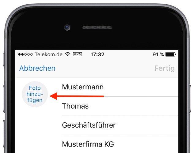 iPhone iOS9 Kontakt Foto Kontaktbild Bild anzeigen bearbeiten inzufügen Anruf 1