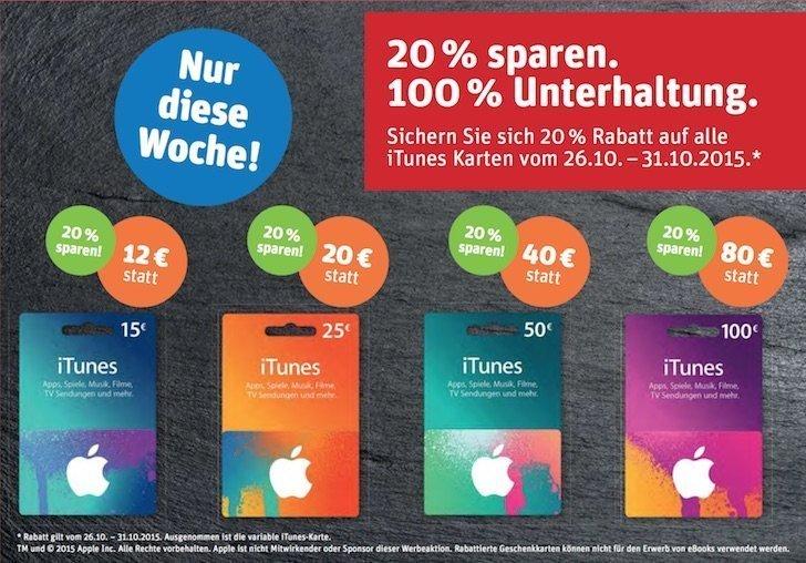 iTunes-Karten mit Rabatt 20 Prozent bei REWE