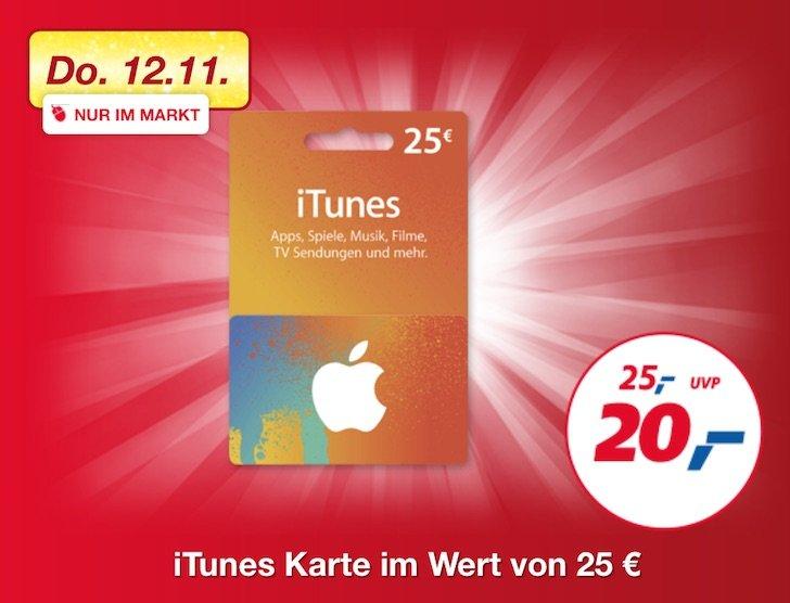 25 EUR iTunes-Karte bei -,real für 20 EUR!