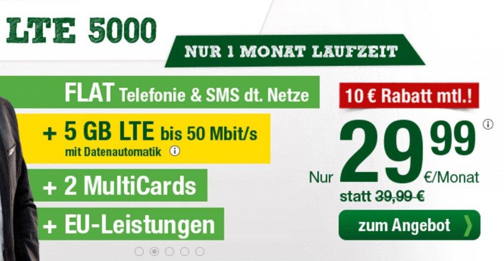 5 GB LTE + Telefonflat + SMS-Flat, monatlich kündbar, für nur 29,99 EUR