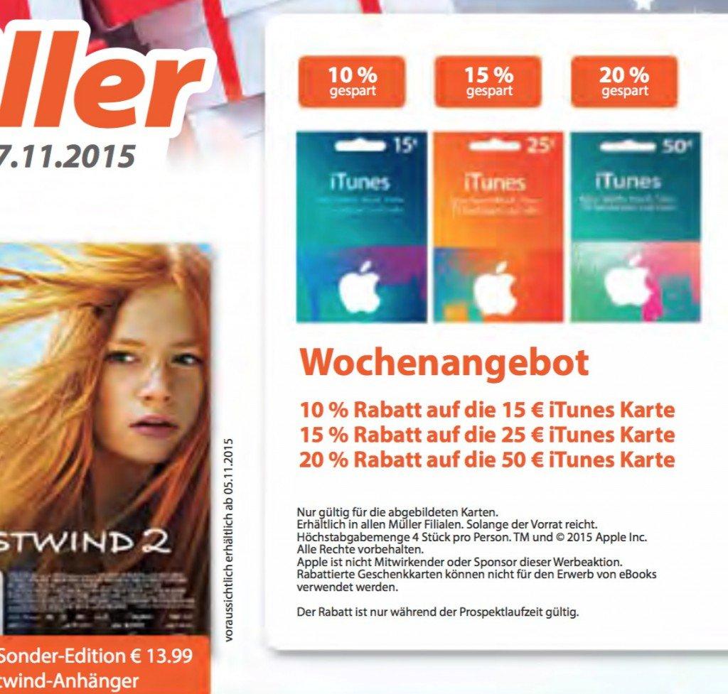 Müller Drogerie iTunes Karte Rabatt geschenk günstiger Rabatt