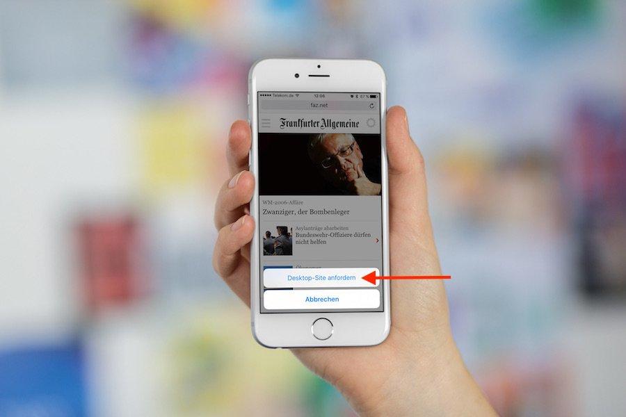 Safari auf iPhone mit iOS9 Von mobiler Ansicht zur Destop-Ansicht wechseln 2