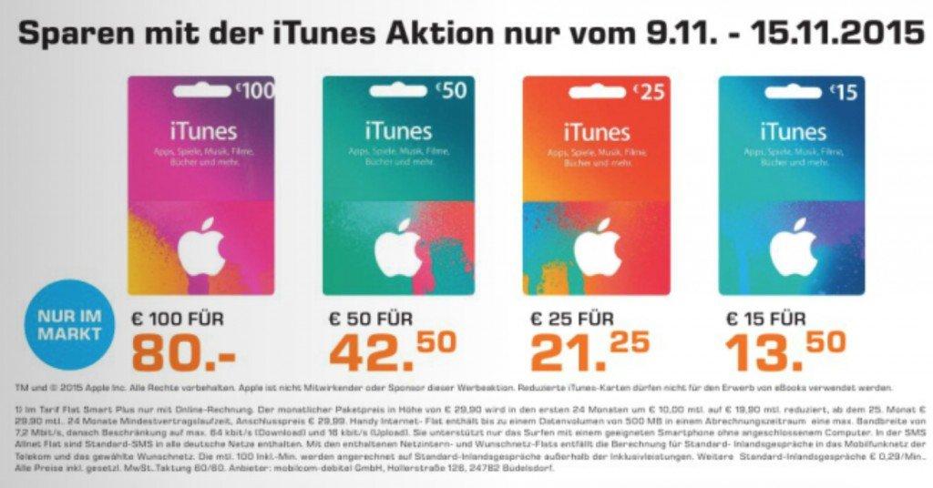 iTunes Karte Rabatt Apple Saturn Angebot Prozent sparen PayPal Kreditkarte 1