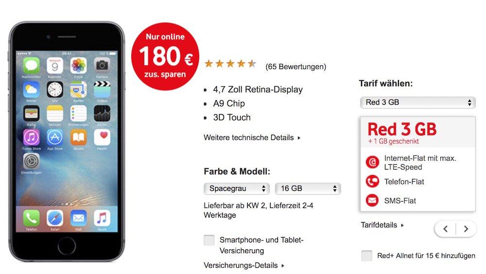 1 EUR-Wochen bei Vodafone, z. B. iPhone 6s