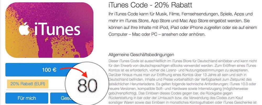 100 EUR-iTunes-Karte mit 20 Prozent Rabatt