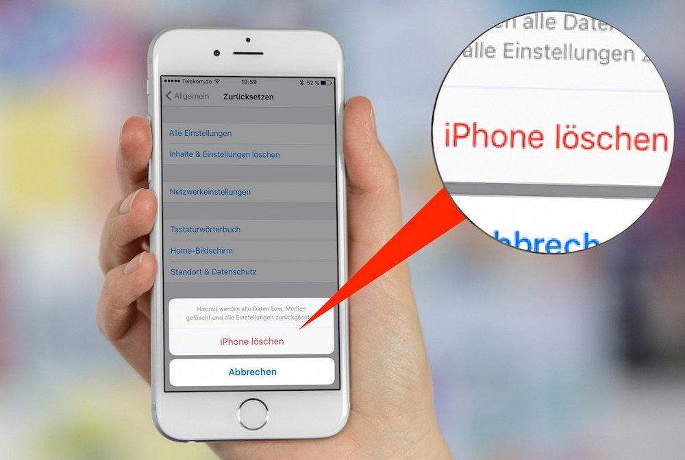 iPhone zurücksetzen löschen