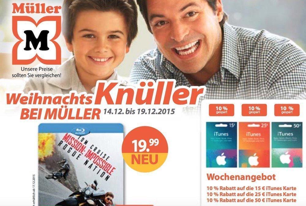 iTunes Karte Geschenk Rabatte Bonus Müller Drogerie Prozent