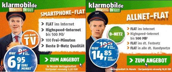 klarmobil.de Netzwechsel D-Netz O2 Kracher Angebot