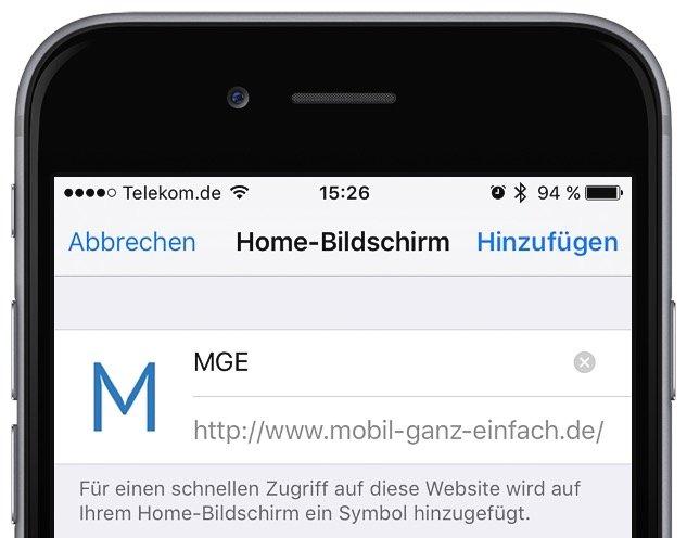 Website als Icon auf Homescreen anzeigen