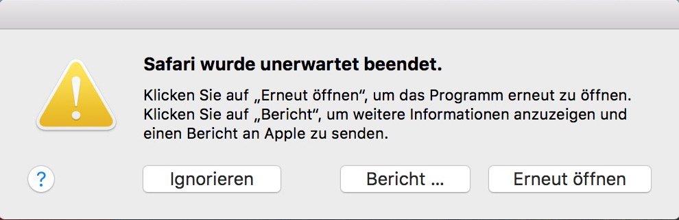 Safari Mac Probleme URL Eingabe, Absturz Maus markieren 2